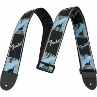 "Ремень для гитары FENDER 2"" MONOGRAMMED BLACK/LIGHT GREY/MEDIUM BLUE STRAP"